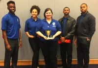 (Pictured l. to. r.) Stephen Adasonla, Meghan Sowersby, Meredith Morrison (Captain), Jesse Lucas, and Dr. Clyde Ledbetter (Coach), Cheyney University's 2017 Honda Campus All Star Challenge (HCASC) Varsity Team.