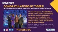 Benedict College Receives the ACE/Fidelity Investments Award for Institutional Transformation