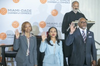Judge Fred Seraphin of Florida's Eleventh Judicial Circuit swears in Miami-Dade Chamber of Commerce's newest Officers of the Board. (Pictured left to right: Florida Memorial University's Director of Major Gifts and Faith-based Organizations Shelia Cohen P