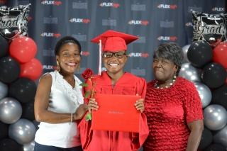 FLEX High graduate Dreama Swanigan pictured with her mother Selma Robinson (left) and great grandmother Losie Rivers (right).